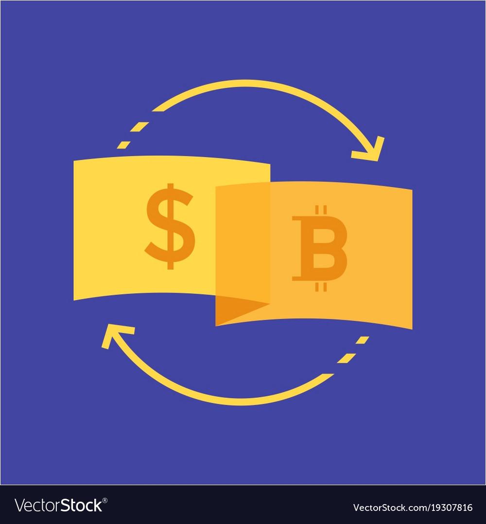 Currency dollar to bitcoin logo design vector image