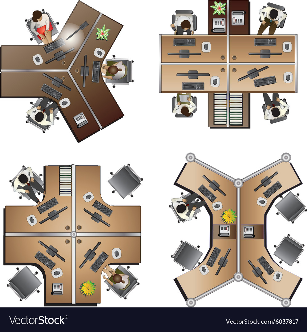 Office furniture top view - Office Furniture Top View Set 8 Vector Image