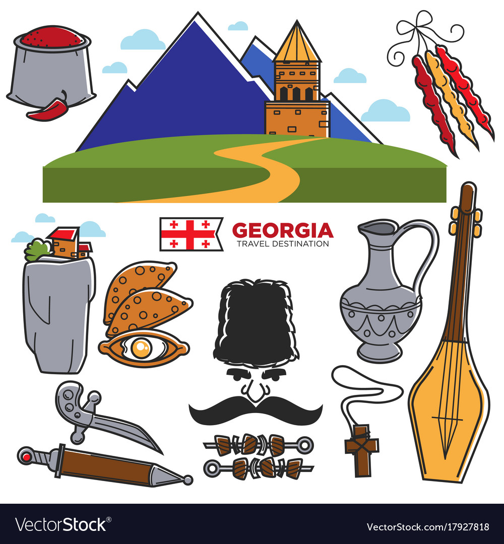 Georgia travel and tourism famous georgian culture vector image