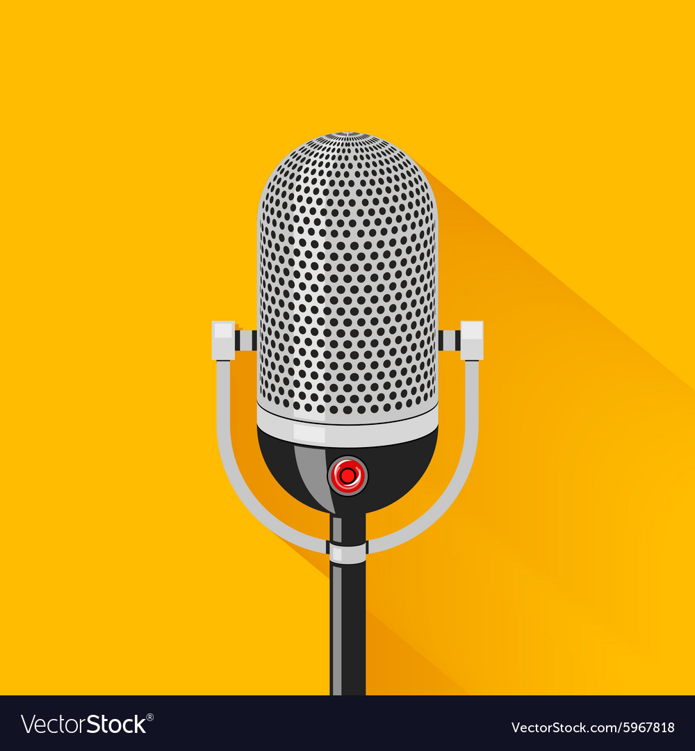 Retro stage microphone silhouette vector image