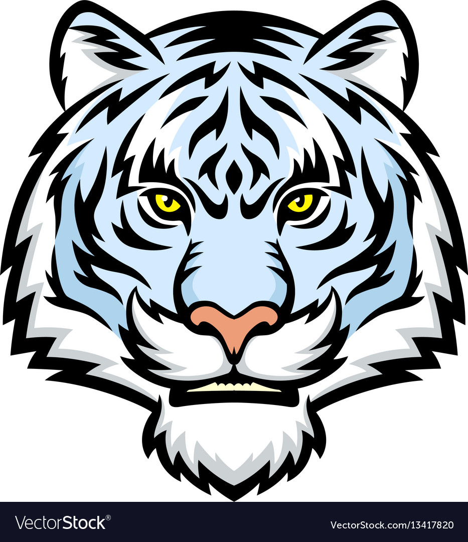 white tiger head logo royalty free vector image rh vectorstock com mizzou tiger head logo tiger head logo vector