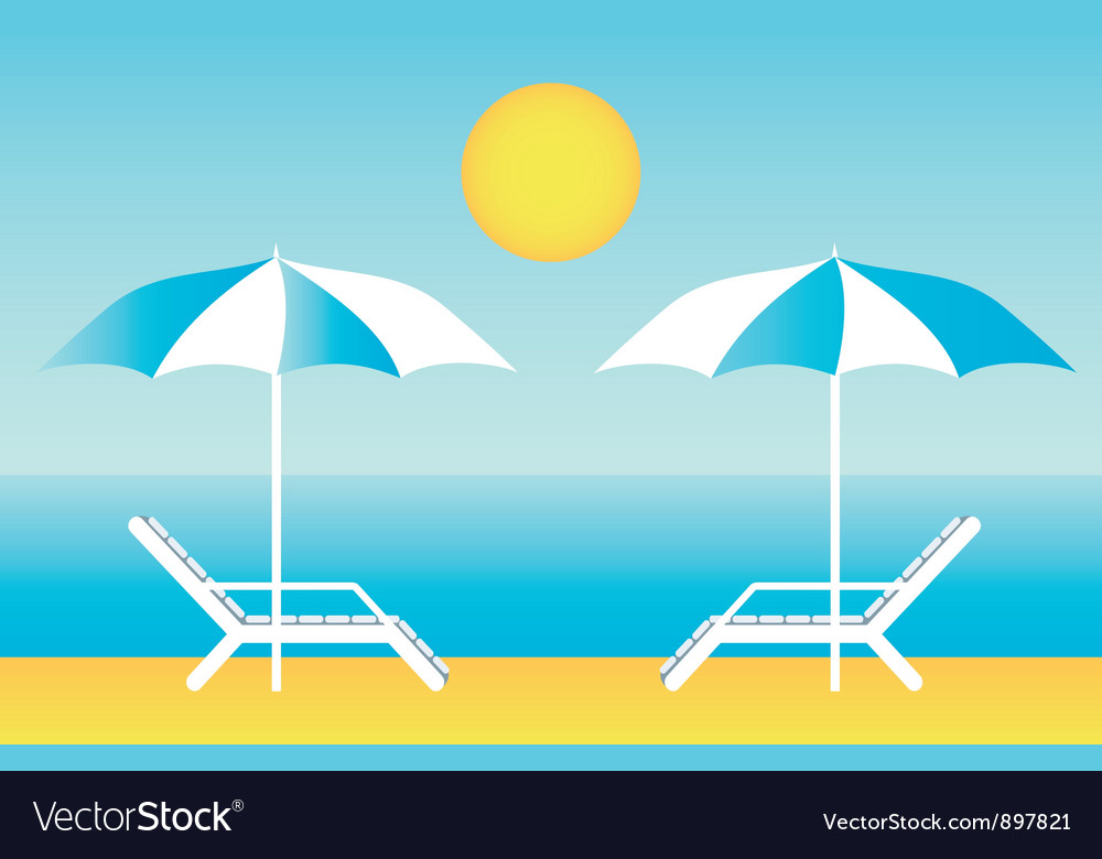 Beach chaise lounges vector image