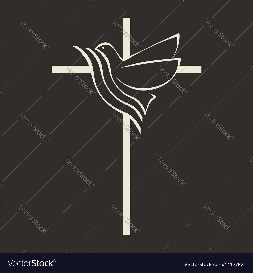 the cross of jesus and the dove royalty free vector image