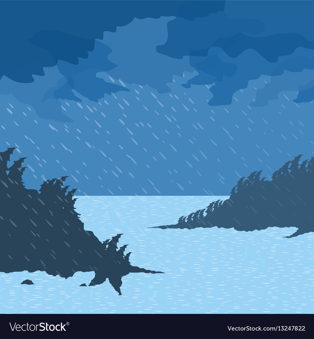 Rain on the sea vector image