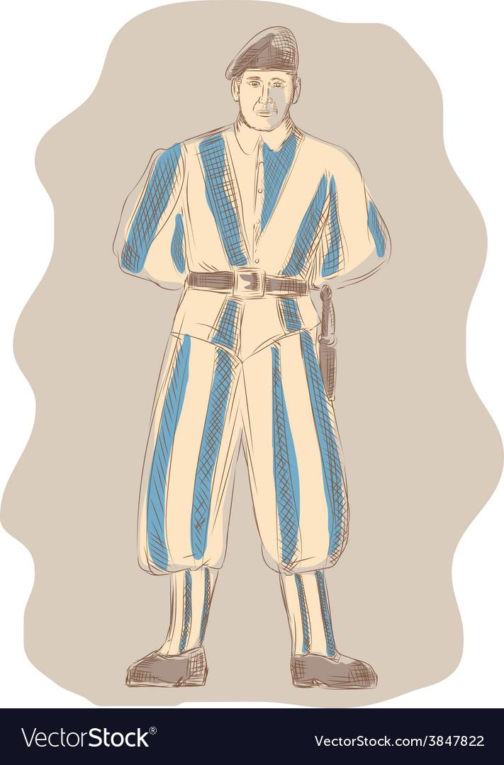 Swiss Guard Standing Sketch vector image