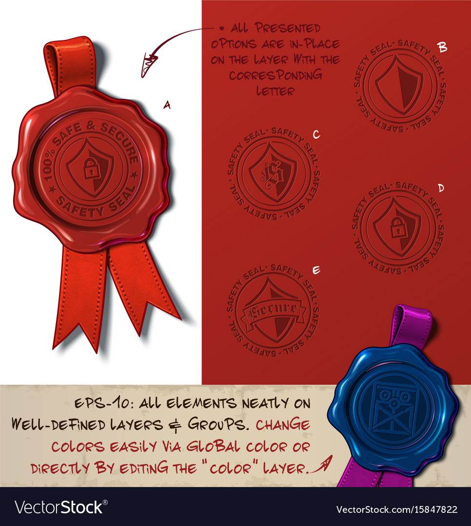 Wax seal - shield sefe and secure vector image