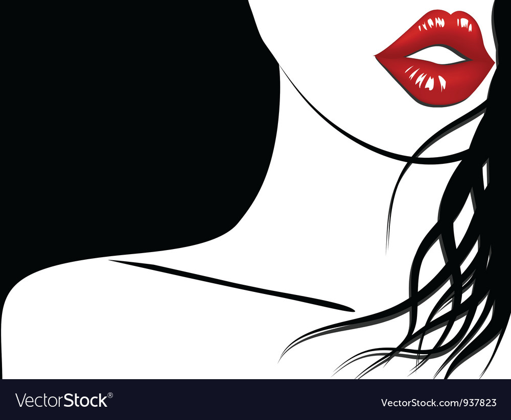 Background of woman with red lips and long hair vector image