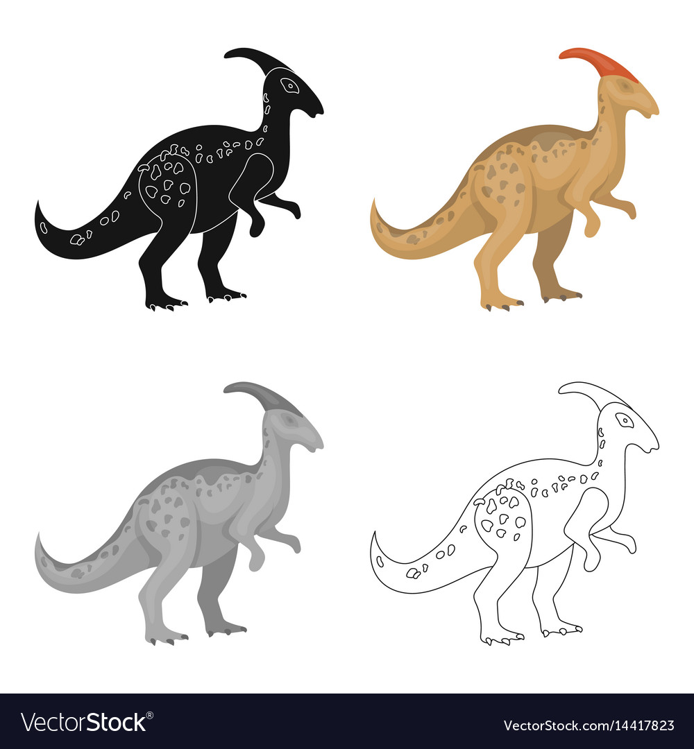 Dinosaur parasaurolophus icon in cartoon style vector image