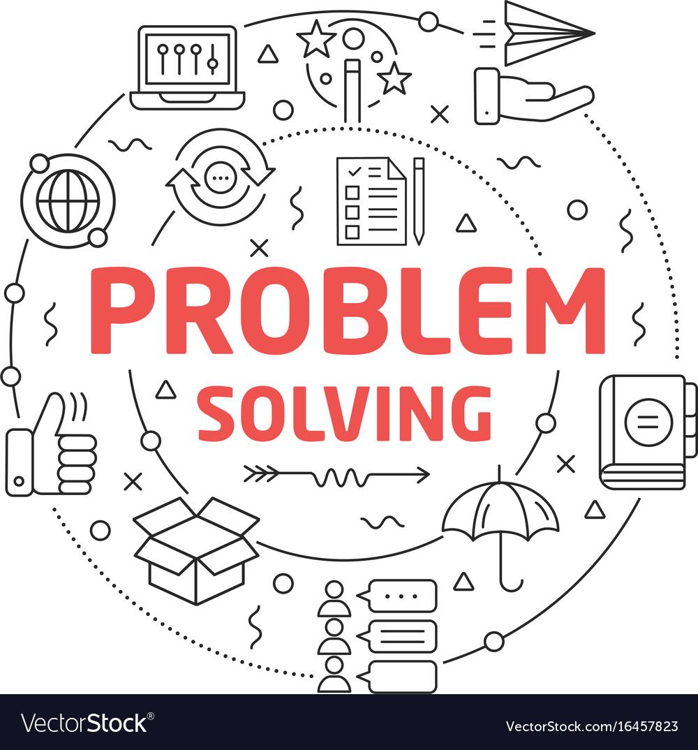 Line flat circle problem solving vector image