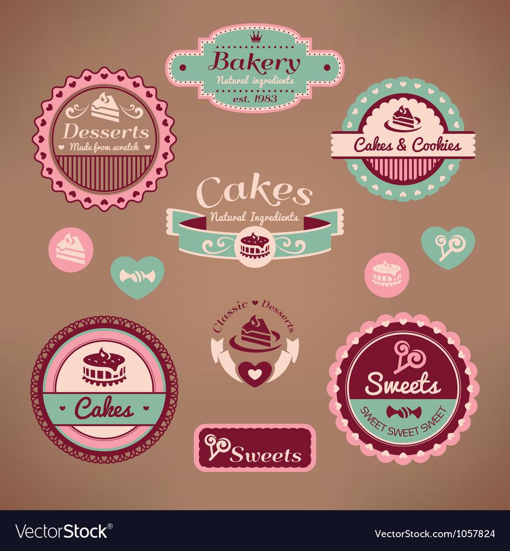 Set of vintage bakery vector image