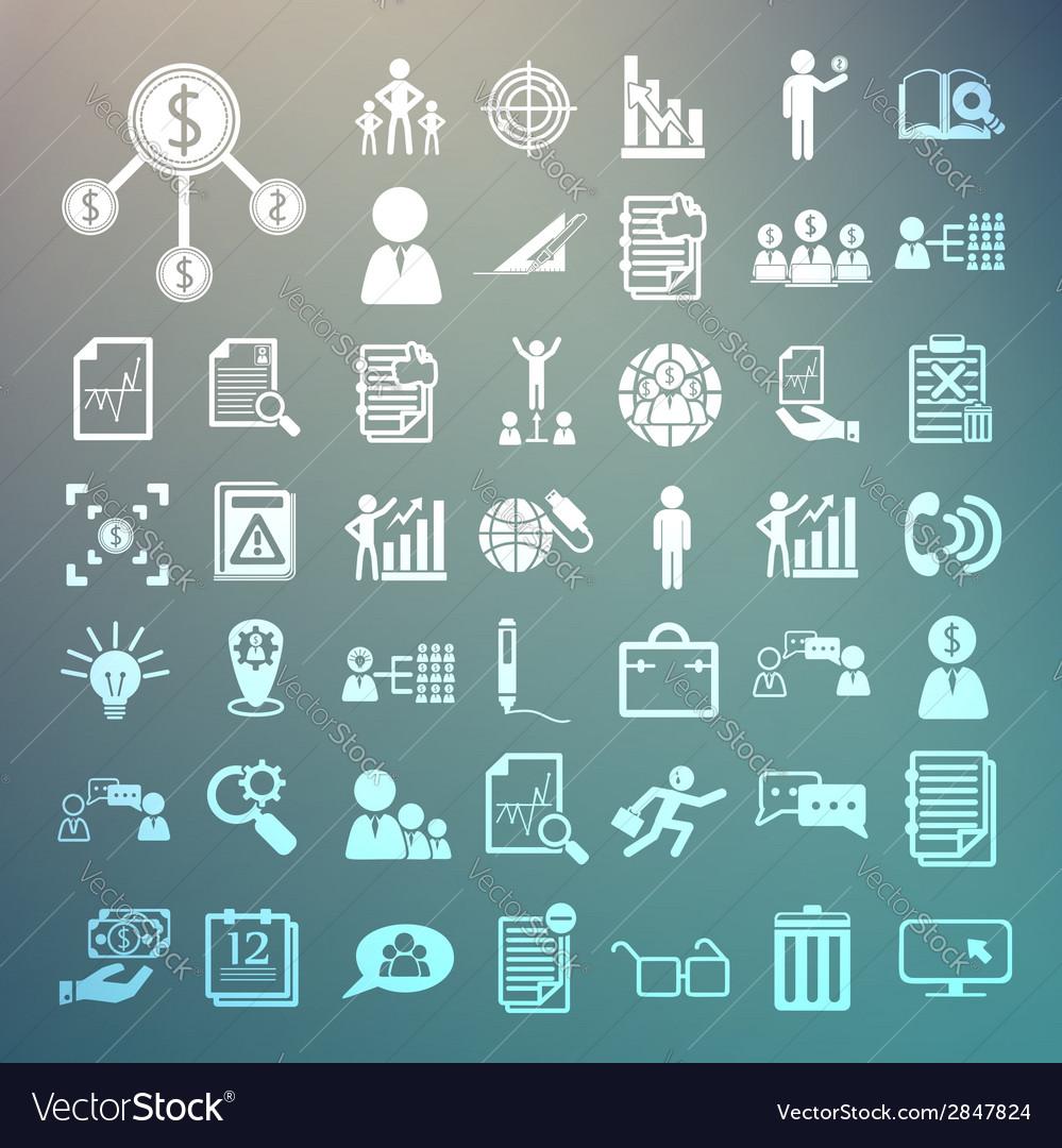 Business icons and Finance icons set2 on Retina ba vector image
