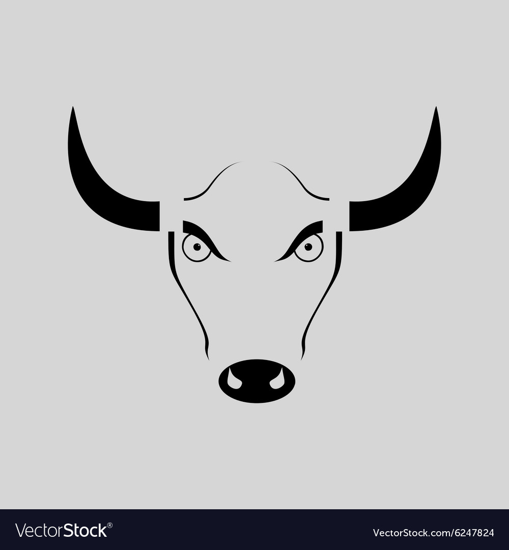 set of bull heads icons on white background