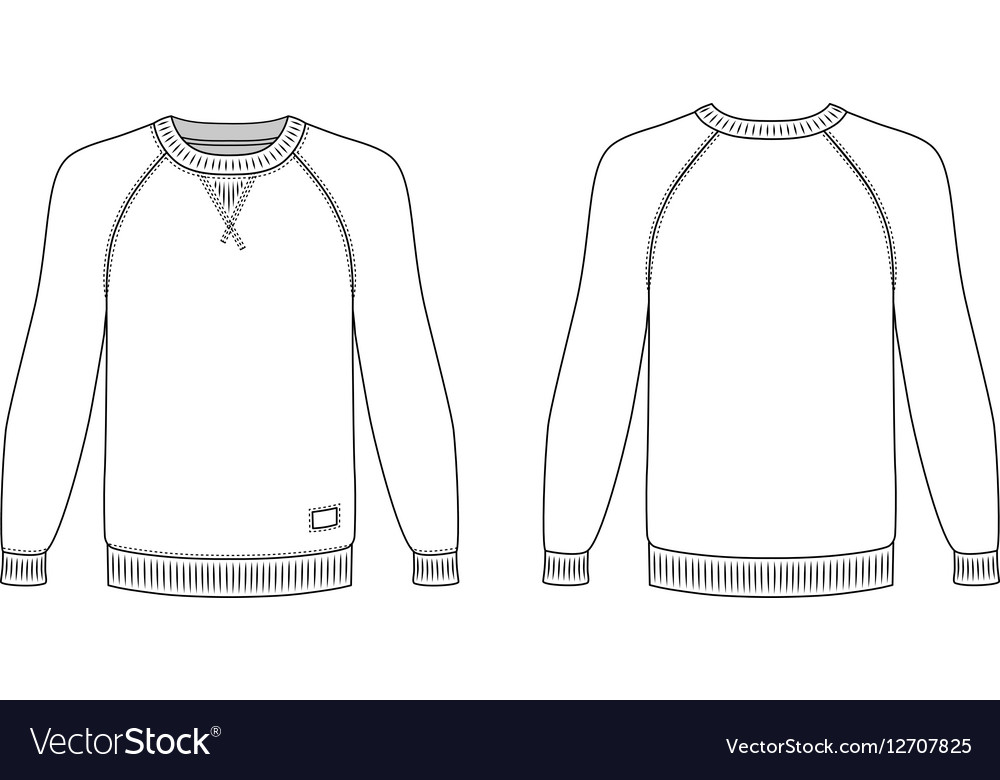 raglan long sleeve t shirt outlined template vector image. Black Bedroom Furniture Sets. Home Design Ideas