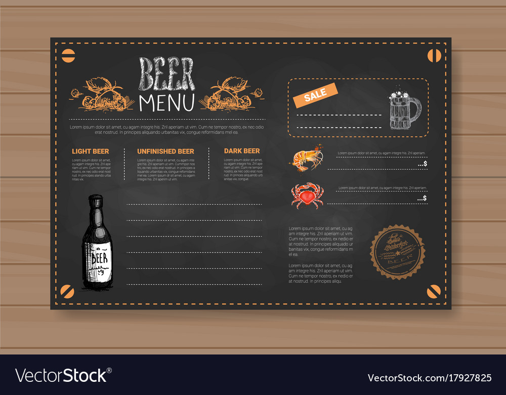 Beer menu set design for restaurant cafe pub Vector Image – Beer Menu