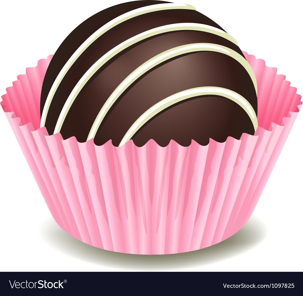 Chocolates in a pink cup vector image