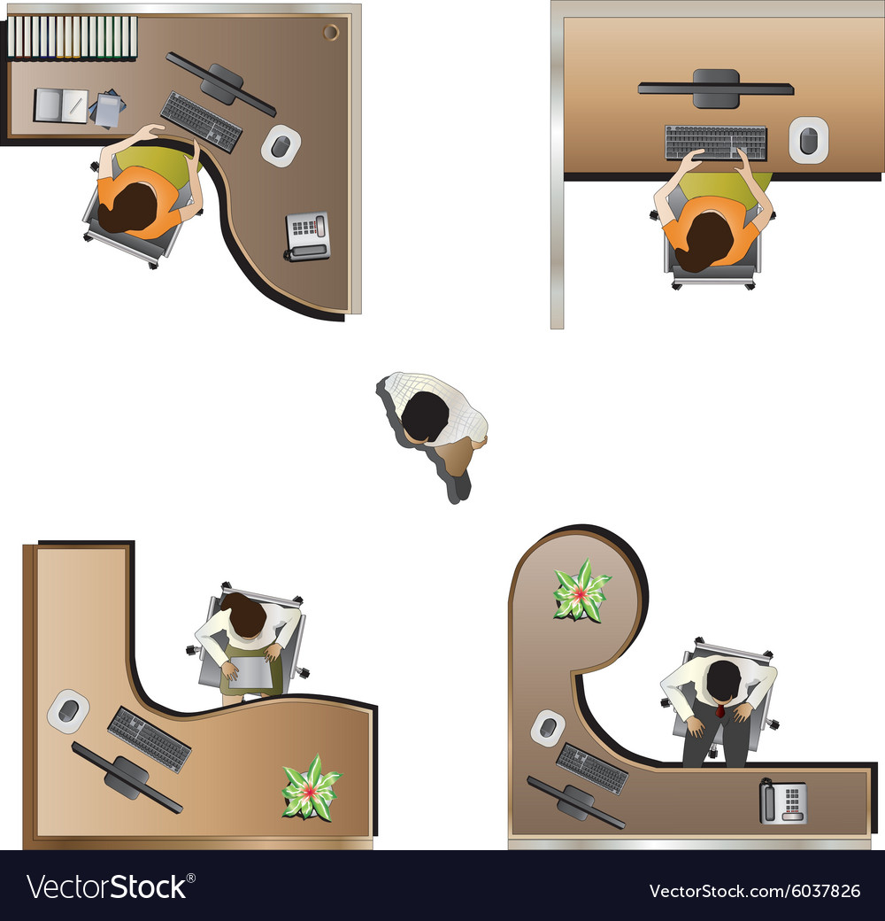 Furniture top view images - Office Furniture Top View Set 9 Vector Image