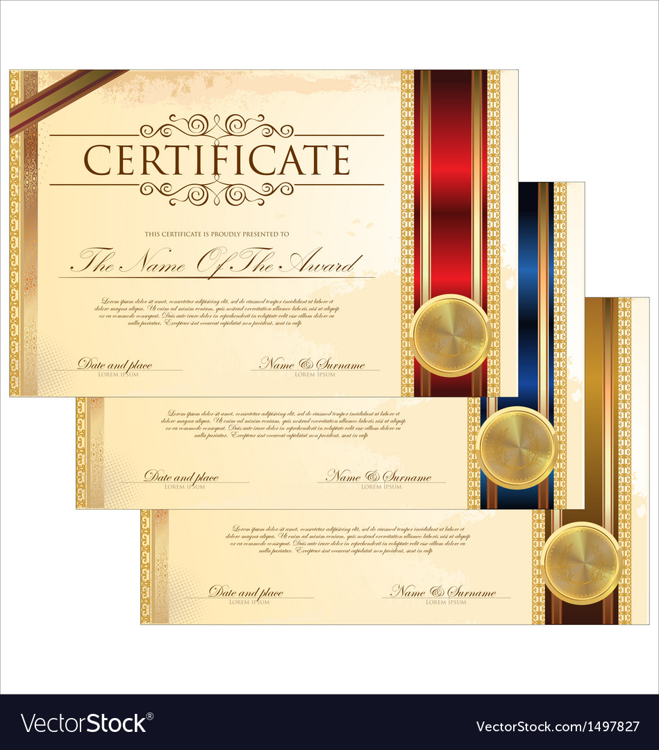 Golden certificate template set royalty free vector image golden certificate template set vector image yelopaper Images