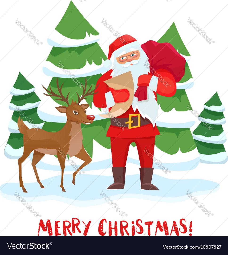 Santa Claus and reindeer Christmas tree vector image