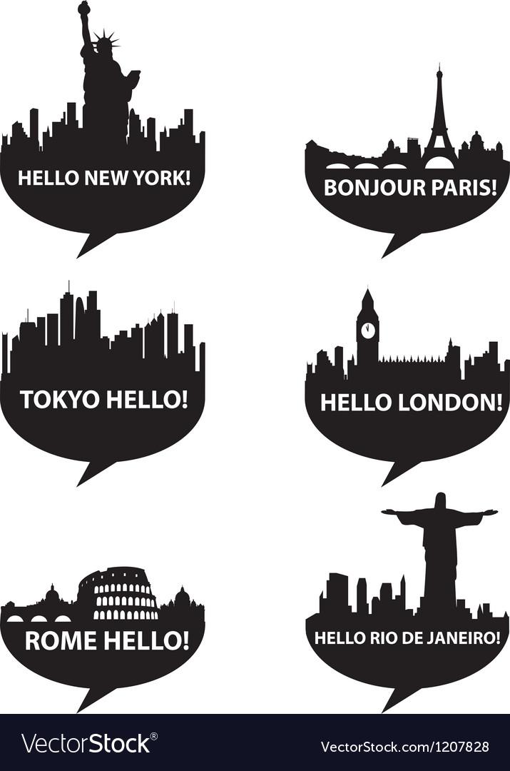 Hello city vector image