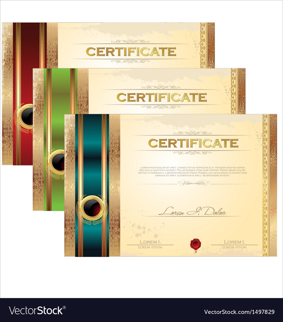 Golden certificate template set royalty free vector image golden certificate template set vector image yadclub Image collections