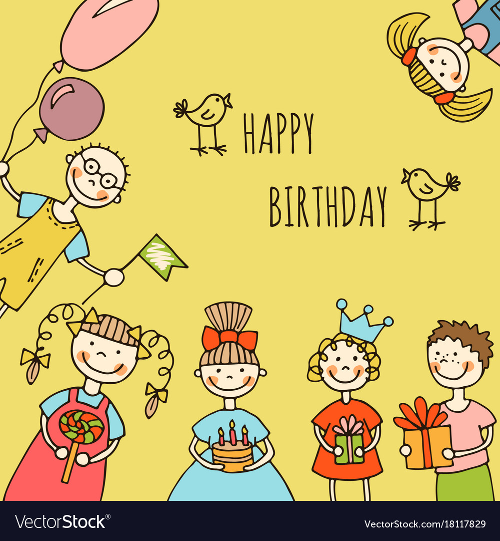 Happy birthday kids greeting card royalty free vector image happy birthday kids greeting card vector image bookmarktalkfo Choice Image
