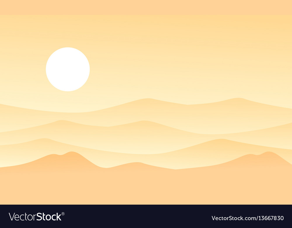 Beauty landscape of desert flat vector image