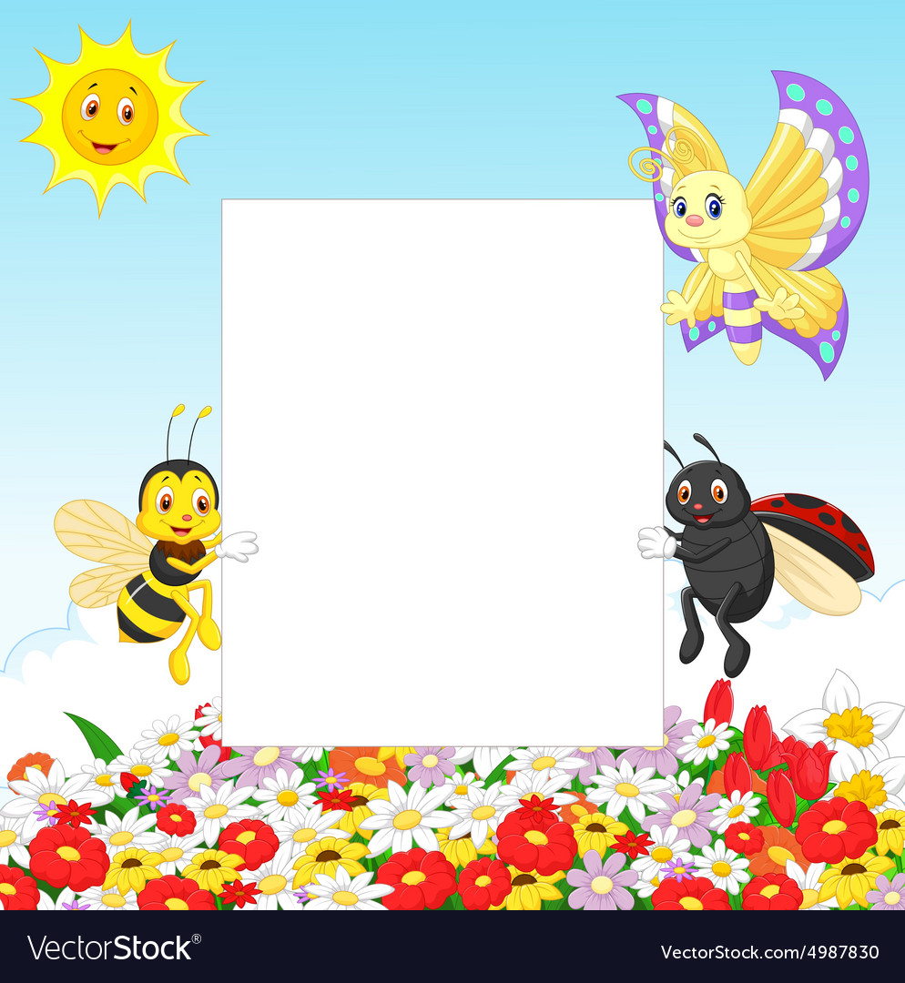 Cute insect with blank sign vector image
