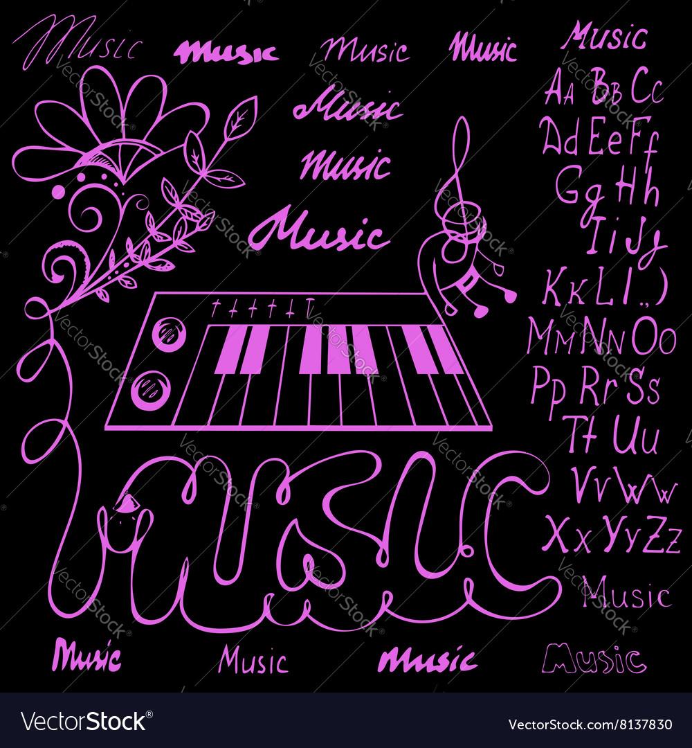 Music symbols alphabet royalty free vector image music symbols alphabet vector image buycottarizona Gallery