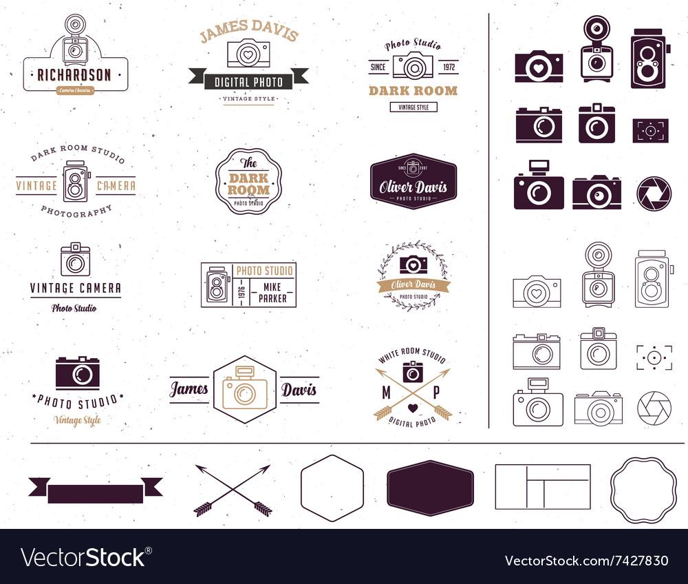 Photographer and photo studio element signatute vector image
