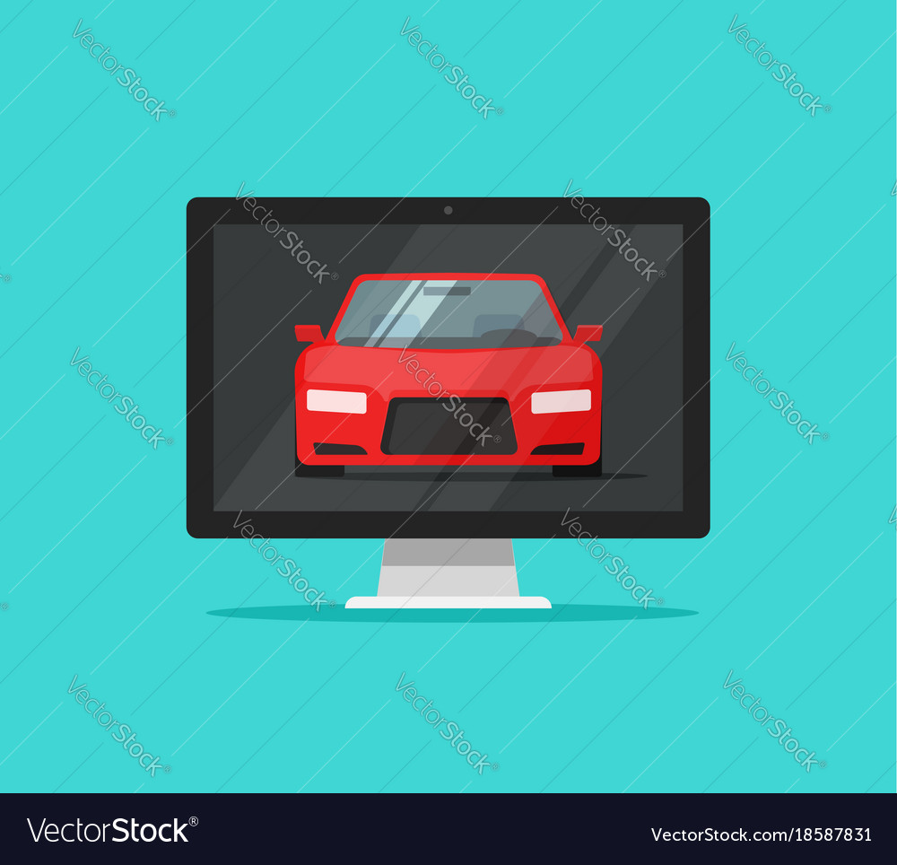 Car or auto on computer screen vector image
