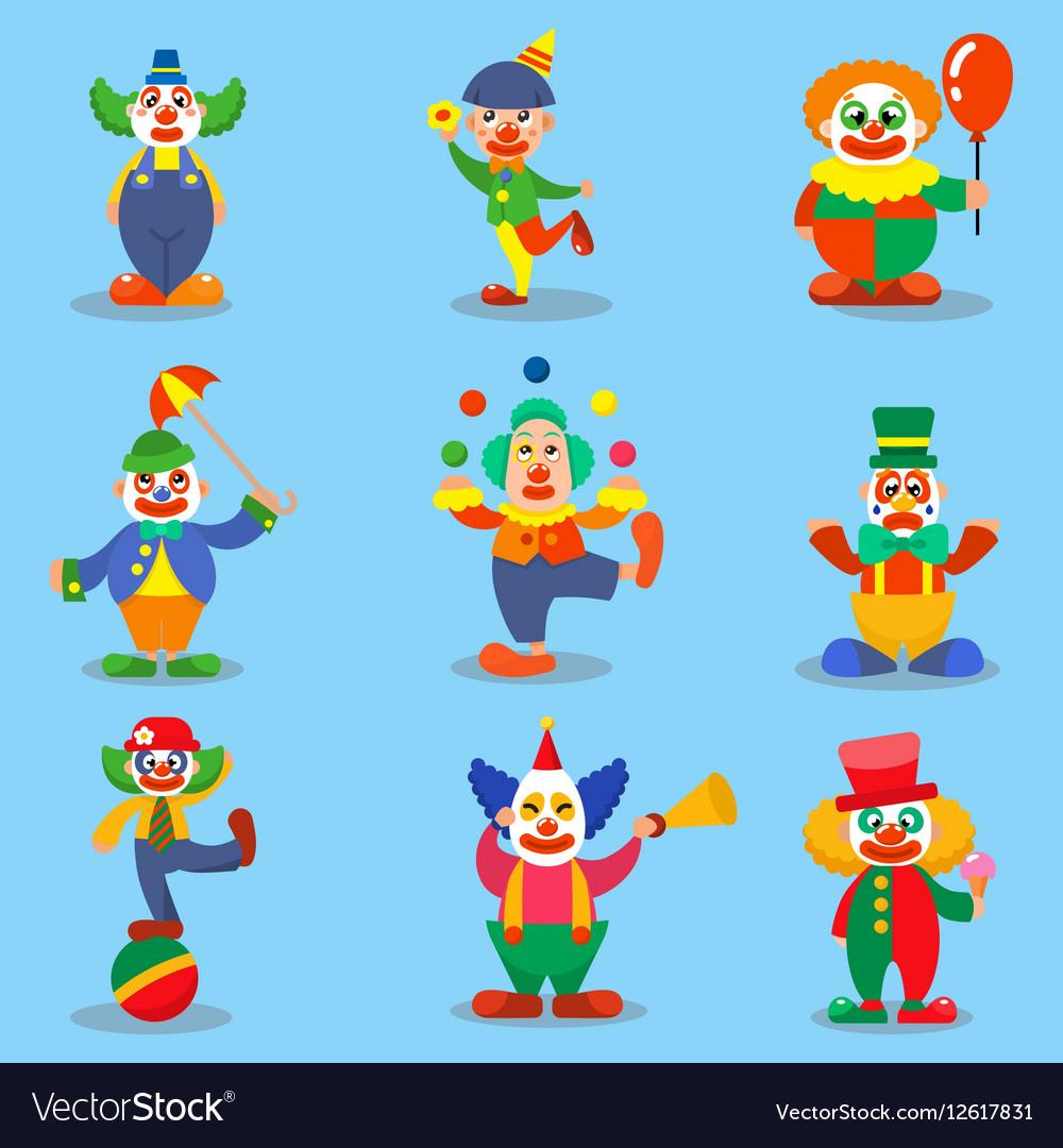 Clown cute characters cartoon vector image