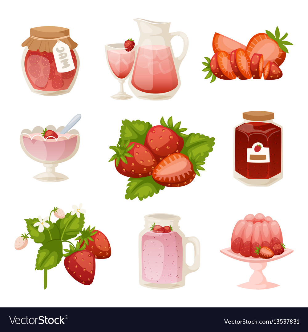 Confectionery desserts strawberry milk cake vector image