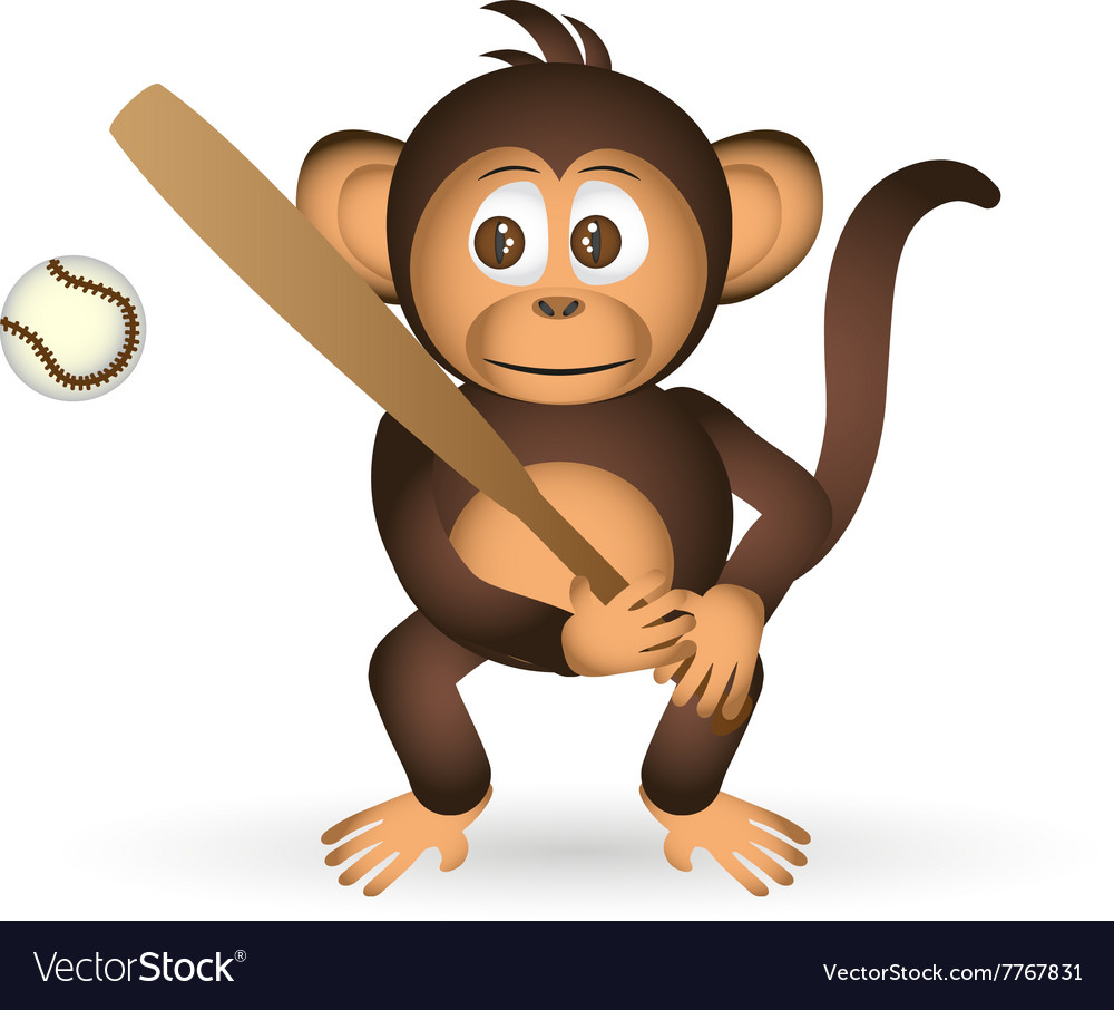 Cute chimpanzee holding baseball bat sport little vector image