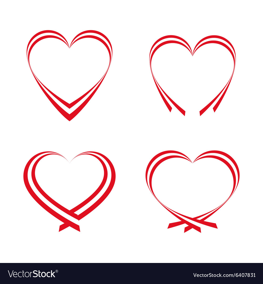 Set of simple red hearts vector image