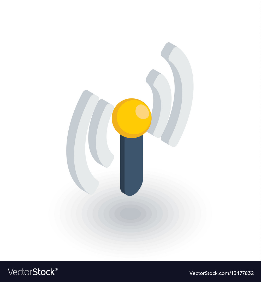 Access point wi-fi signal antenna isometric flat vector image