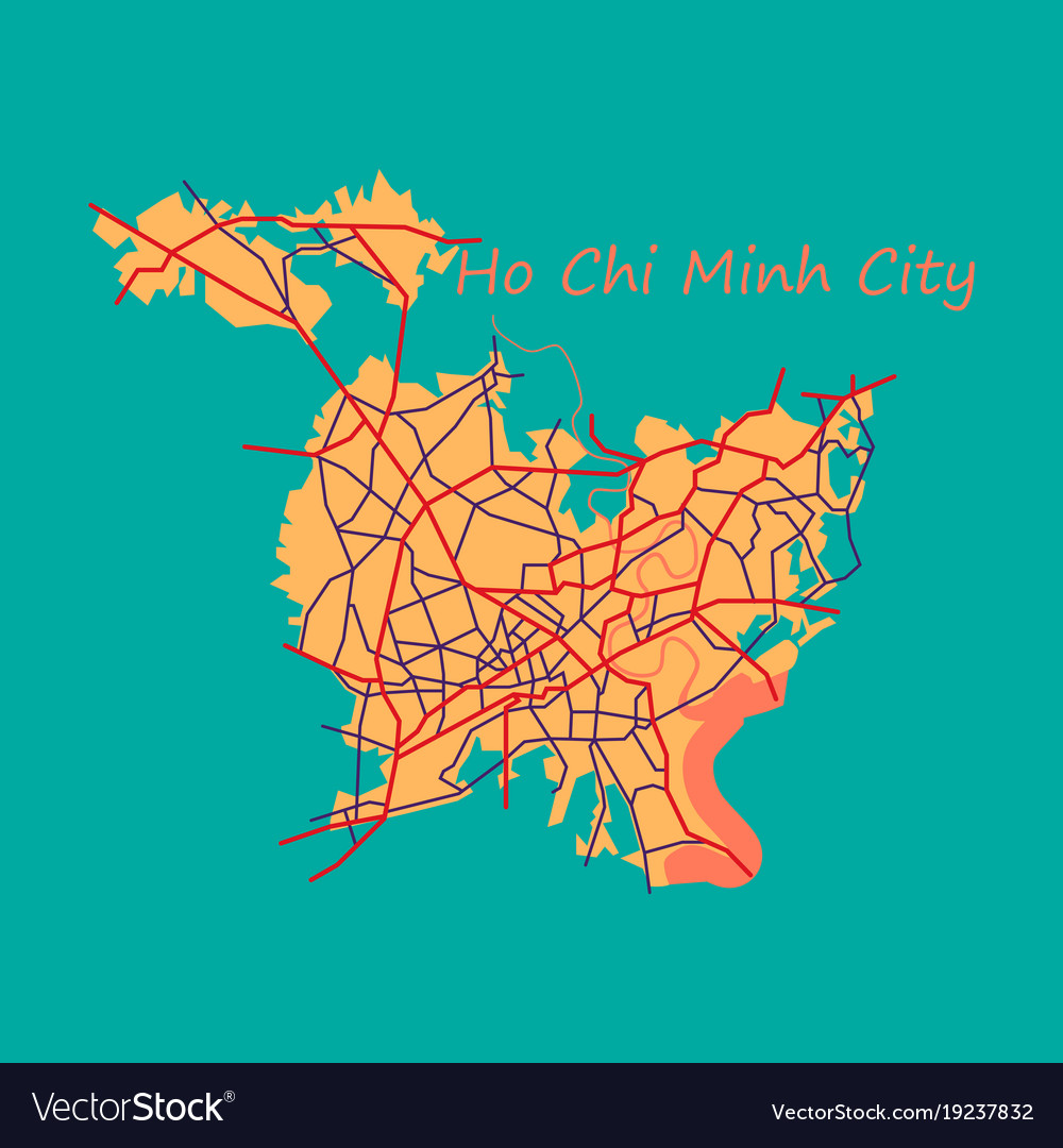 Flat ho chi minh city administrative map Vector Image