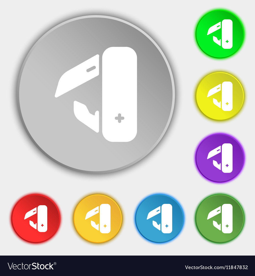 Knife picnic icon sign Symbol on eight flat vector image