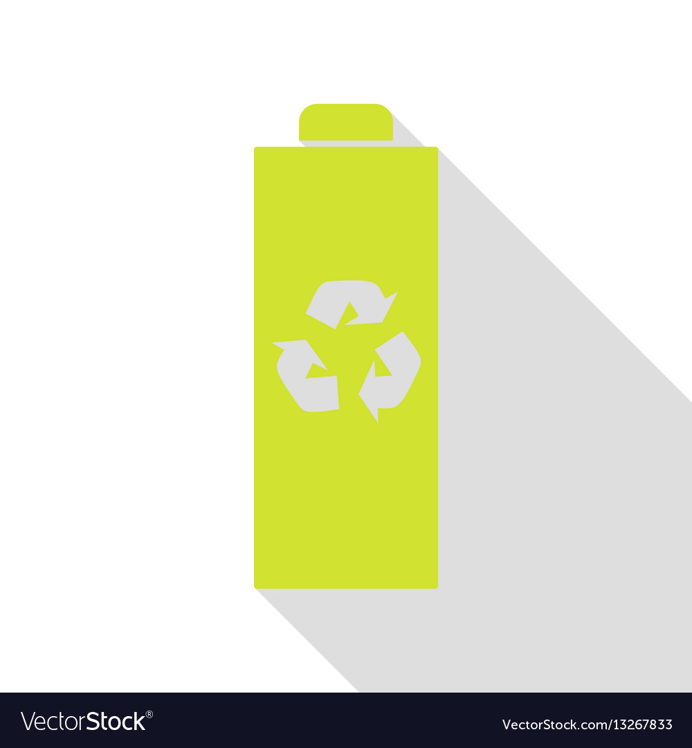 Battery recycle sign pear icon with vector image