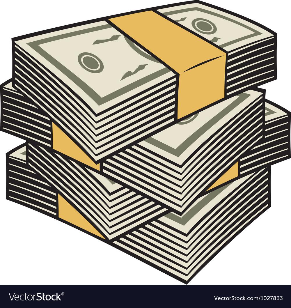 Big stack of money vector image