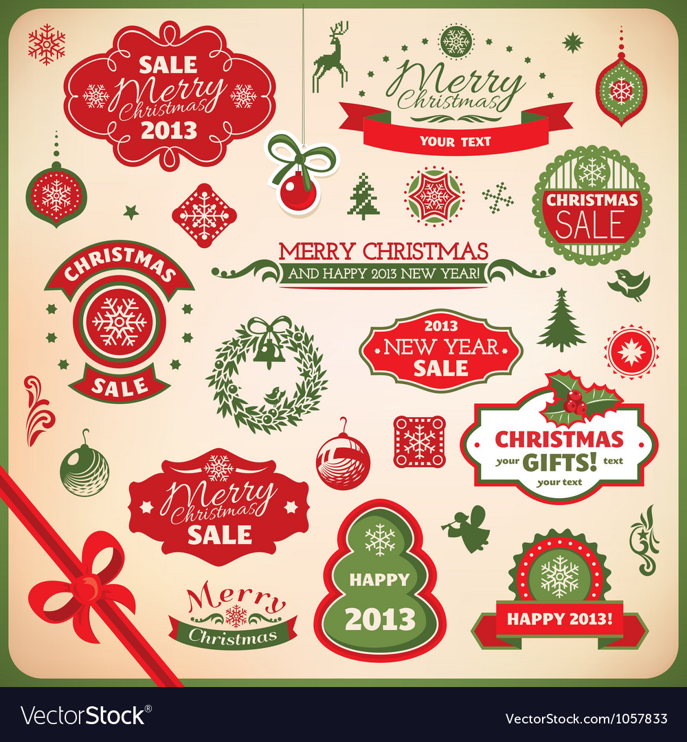 Collection of christmas elements vector image