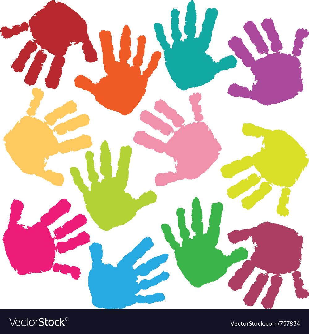 Prints of hands of the child vector image