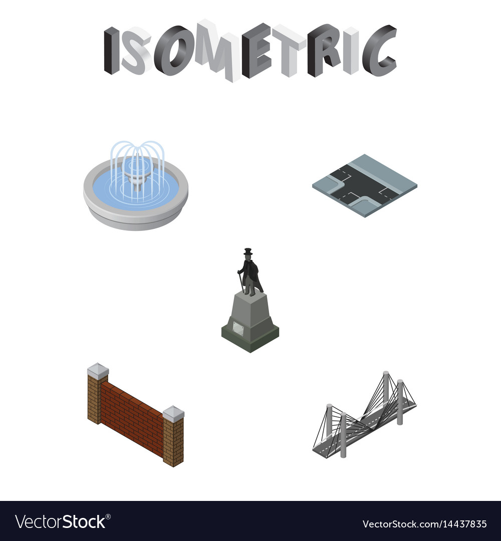 Isometric architecture set of bridge sculpture vector image