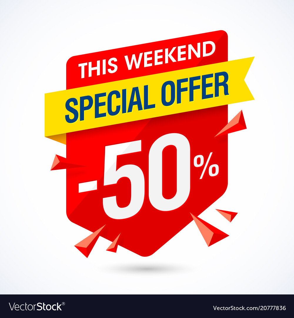 Weekend Sale Banner: This Weekend Special Offer Sale Banner Half Price Vector Image