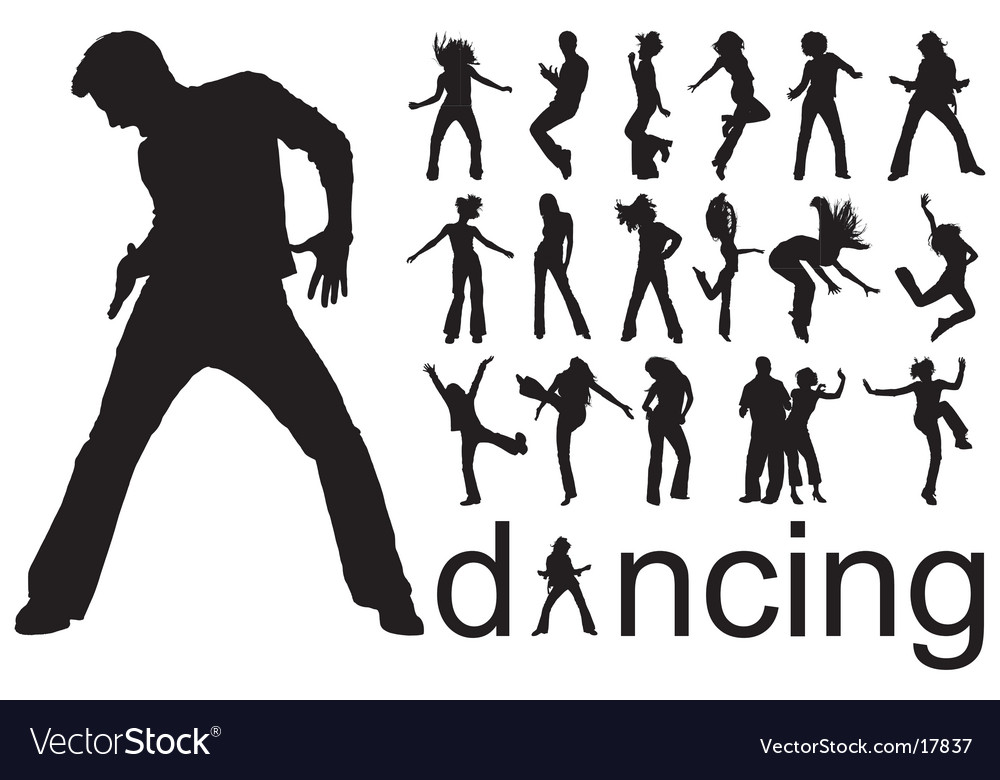 Dancing people silhouettes Vector Image