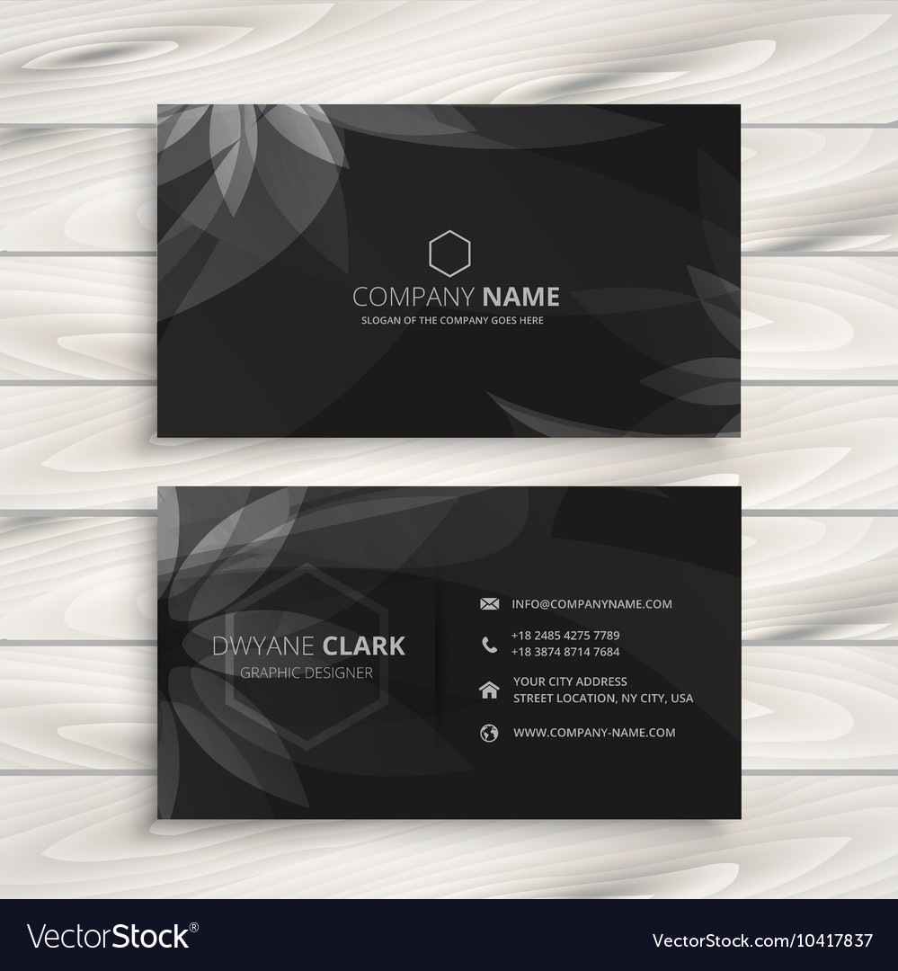 Dark flower business card Royalty Free Vector Image