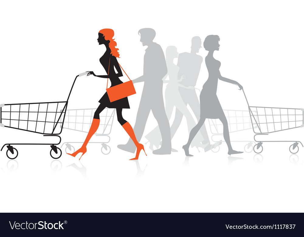 People withs Shopping charts vector image