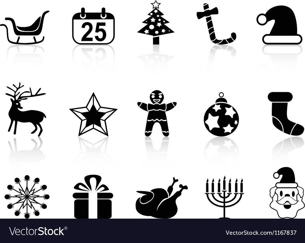 Simple black christmas icons set vector image