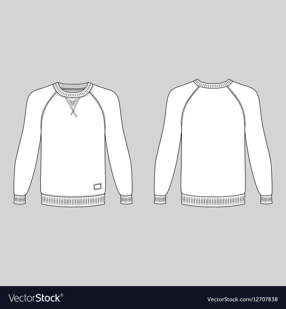 raglan long sleeve t shirt outlined template royalty free vector image vectorstock. Black Bedroom Furniture Sets. Home Design Ideas