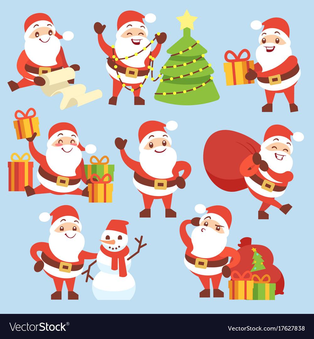 Cartoon cute santa claus character set vector image