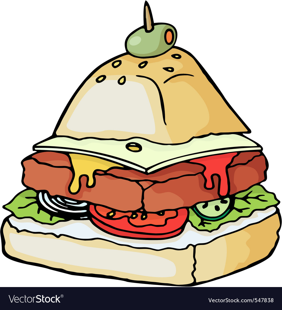 Pyramid shaped burger illustration vector image